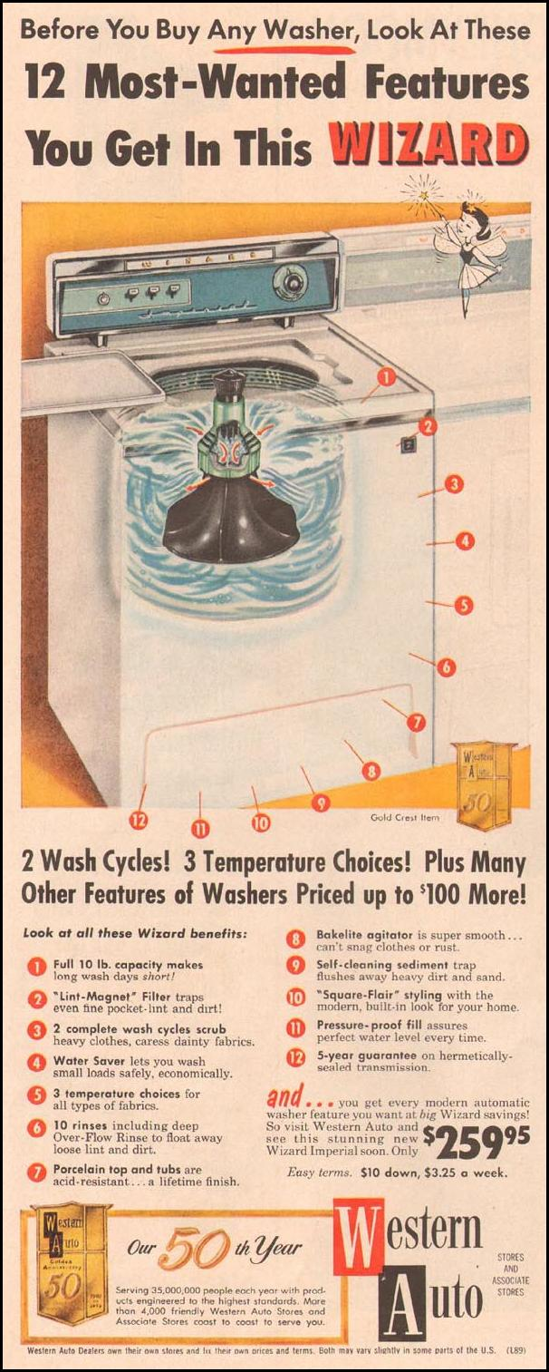 WESTERN AUTO WIZARD IMPERIAL WASHING MACHINE LIFE 08/10/1959 p. 52