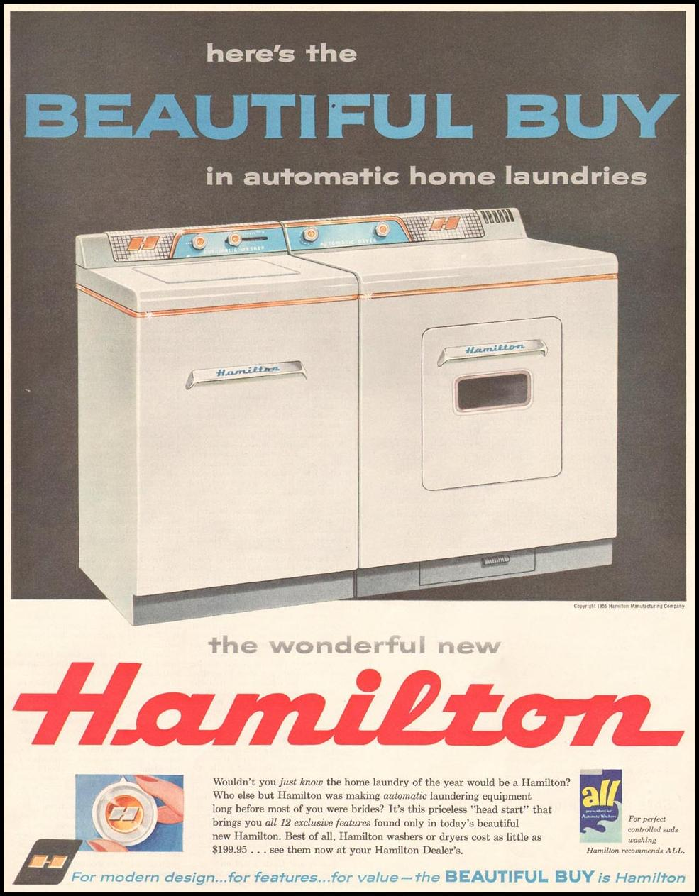 HAMILTON WASHING MACHINES SATURDAY EVENING POST 03/26/1955 p. 160