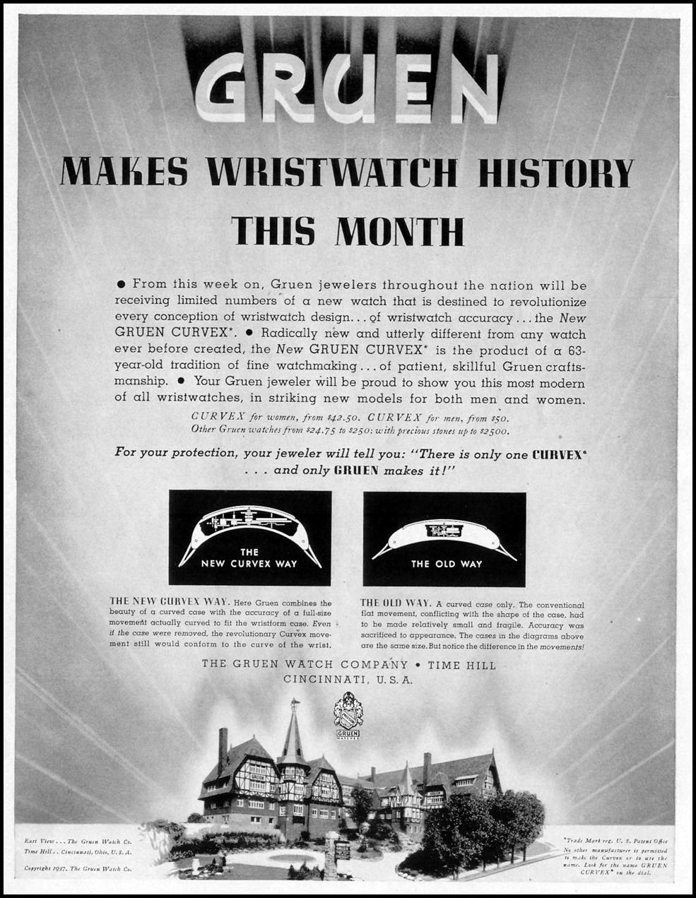 GRUEN CURVEX WATCHES LIFE 08/02/1937 p. 67