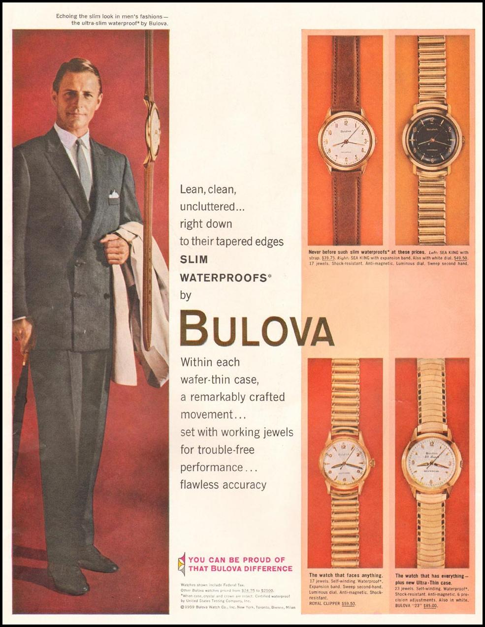 BULOVA WRIST WATCHES LIFE 10/05/1959 INSIDE FRONT