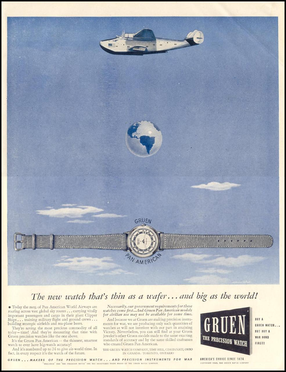 GRUEN PAN AMERICAN WATCHES LIFE 11/08/1943 p. 7