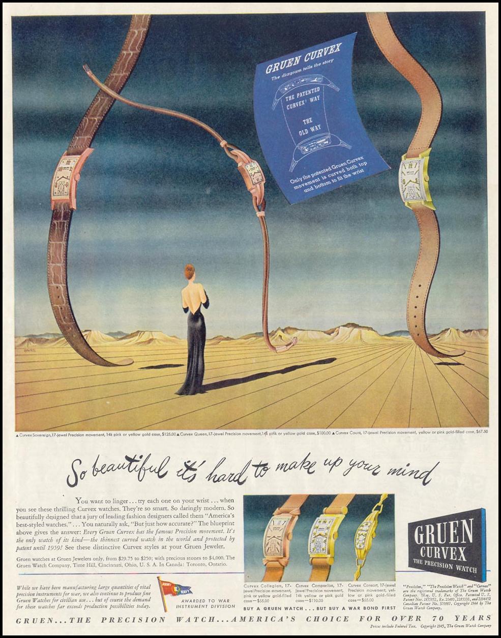 GRUEN CURVEX WATCHES SATURDAY EVENING POST 05/19/1945 p. 97