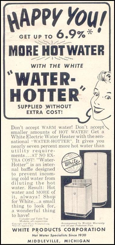 WHITE ELECTRIC WATER HEATER GOOD HOUSEKEEPING 07/01/1949 p. 180