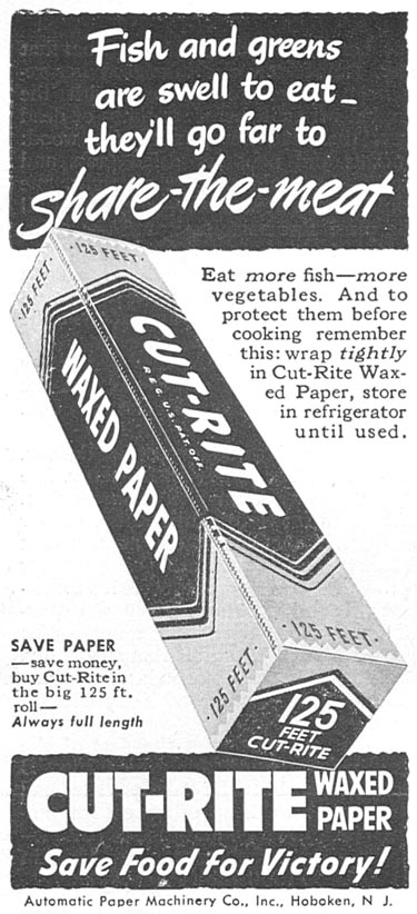 CUT-RITE WAXED PAPER WOMAN'S DAY 04/01/1943 p. 70