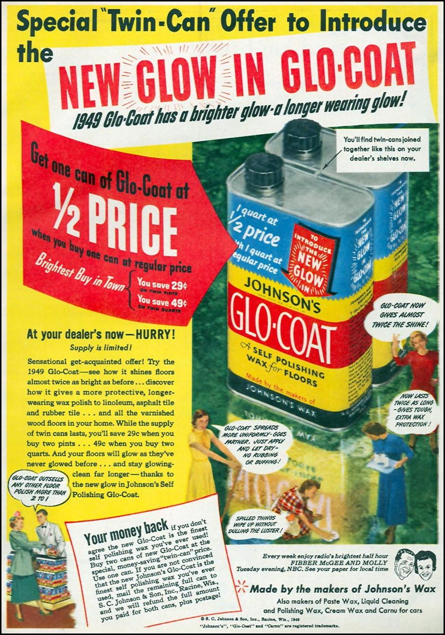 JOHNSON'S GLO-COAT FLOOR WAX WOMAN'S DAY 04/01/1949 p. 25