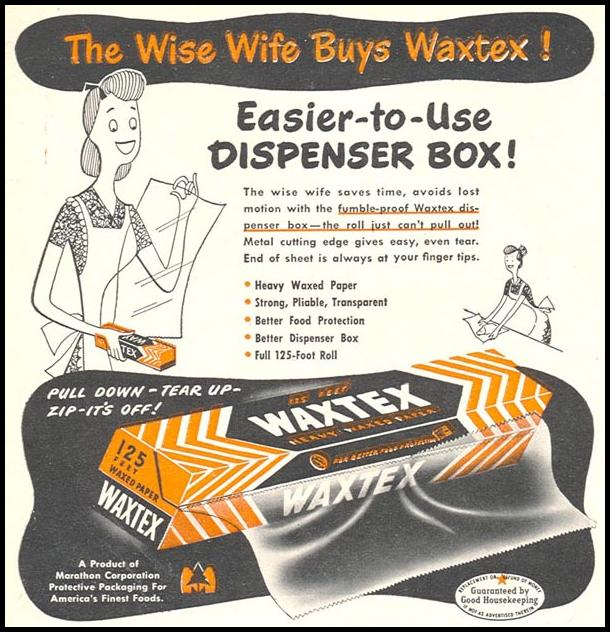 WAXTEX WAXED PAPER WOMAN'S DAY 04/01/1949 p. 108