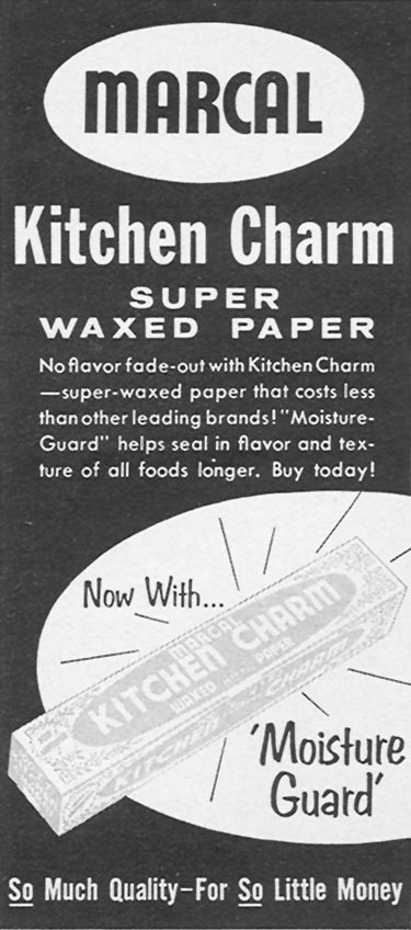 MARCAL KITCHEN CHARM SUPER WAXED PAPER WOMAN'S DAY 04/01/1956 p. 126