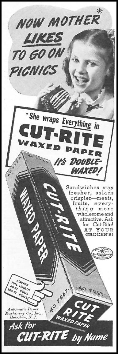CUT-RITE WAXED PAPER WOMAN'S DAY 05/01/1940 p. 50