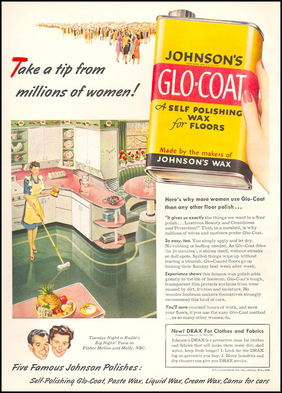 JOHNSON'S GLO-COAT FLOOR POLISH WOMAN'S DAY 05/01/1946 INSIDE FRONT