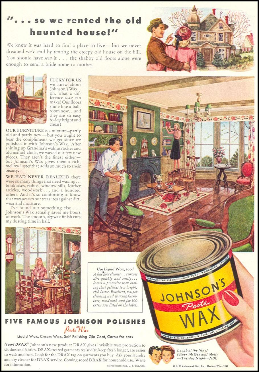 JOHNSON'S PASTE WAX WOMAN'S DAY 05/01/1947 INSIDE FRONT