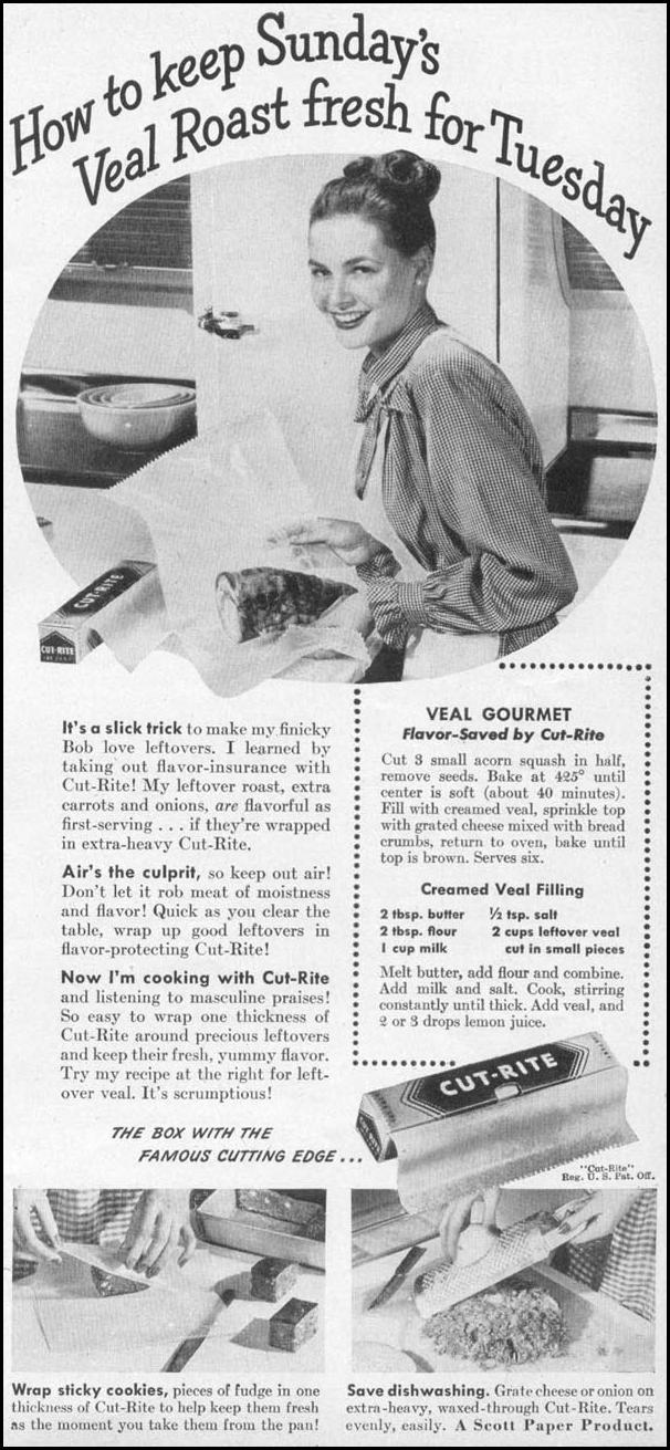 CUT-RITE WAXED PAPER WOMAN'S DAY 05/01/1947 p. 103