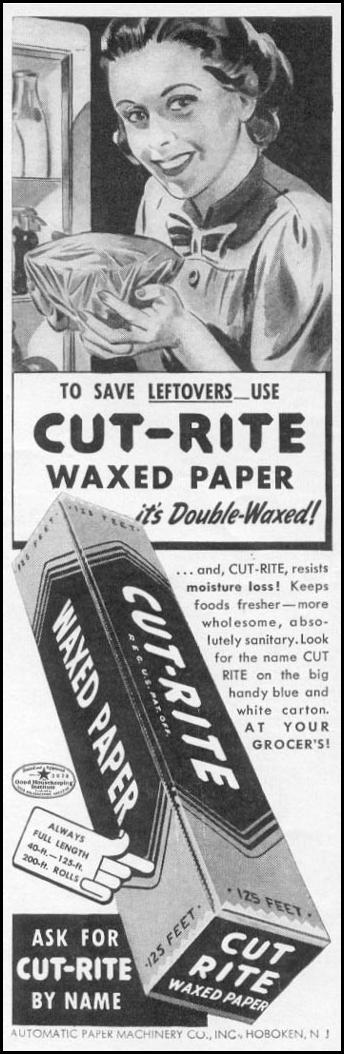 CUT-RITE WAXED PAPER WOMAN'S DAY 06/01/1941 p. 59