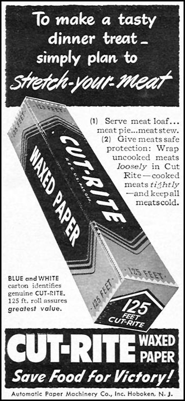 CUT-RITE WAXED PAPER WOMAN'S DAY 06/01/1943 p. 64