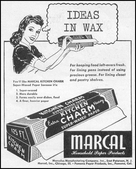 MARCAL KITCHEN CHARM WAXED PAPER WOMAN'S DAY 06/01/1946 p. 62