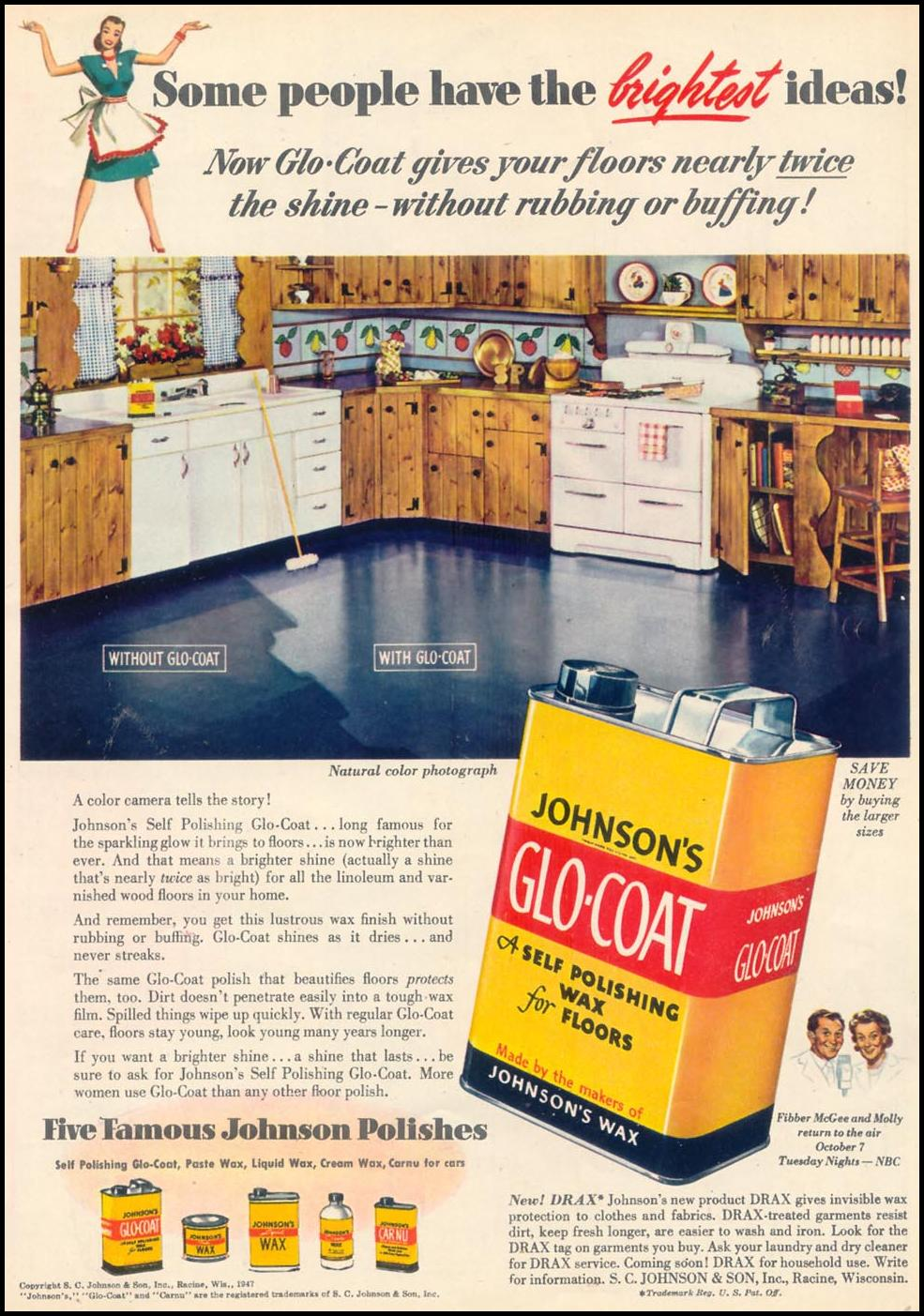 JOHNSON'S GLO-COAT FLOOR WAX WOMAN'S DAY 09/01/1947 p. 61