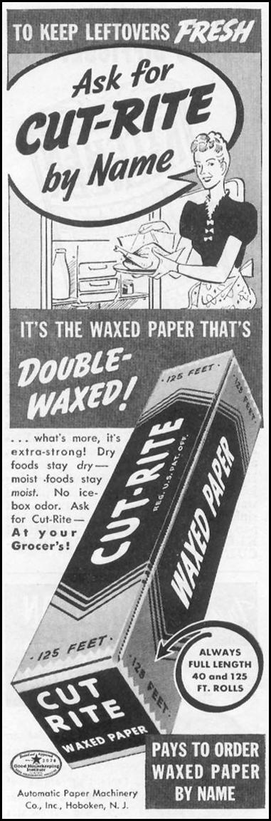 CUT-RITE WAXED PAPER WOMAN'S DAY 10/01/1939 p. 46