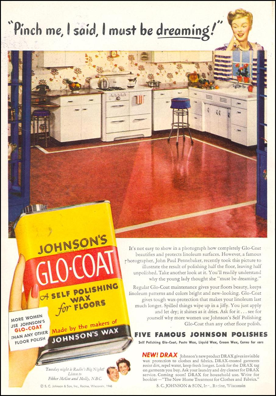 JOHNSON'S GLO-COAT FLOOR WAX WOMAN'S DAY 10/01/1946 INSIDE BACK