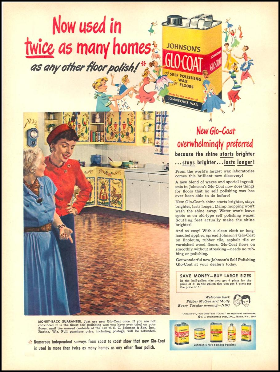 JOHNSON'S GLO-COAT FLOOR POLISH WOMAN'S DAY 10/01/1949 p. 38