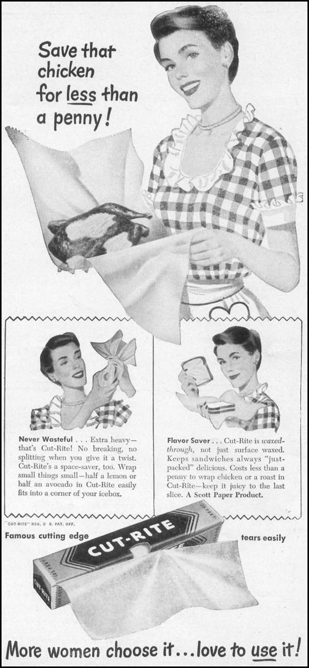 CUT-RITE WAXED PAPER WOMAN'S DAY 10/01/1949 p. 101