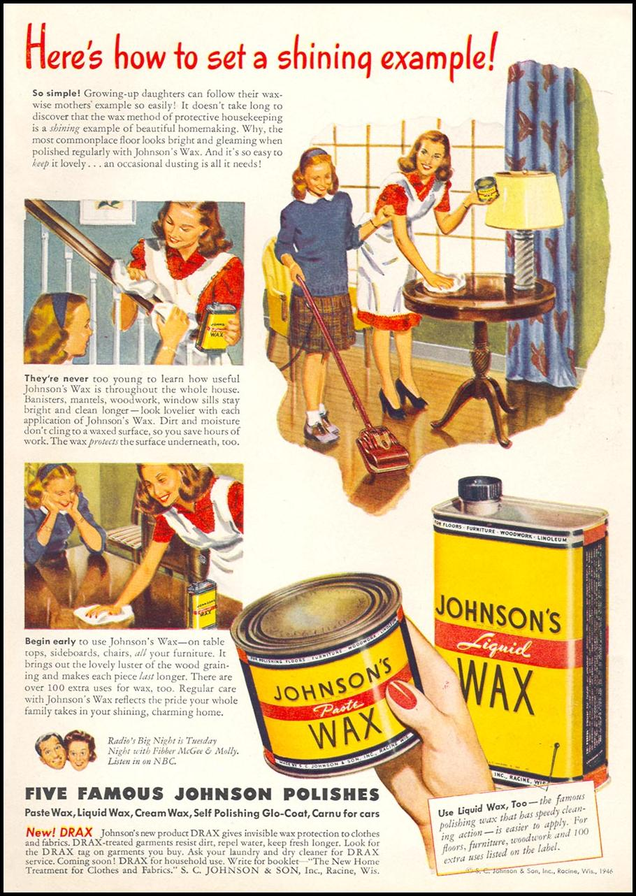 JOHNSON'S PASTE WAX WOMAN'S DAY 11/01/1946 INSIDE BACK