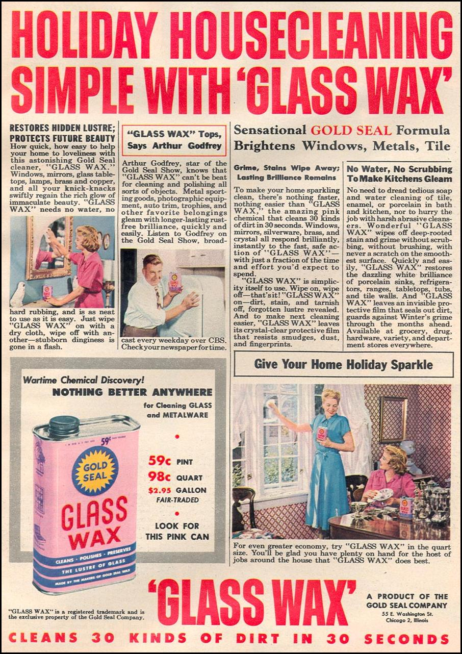 GOLD SEAL GLASS WAX WOMAN'S DAY 12/01/1948 p. 61