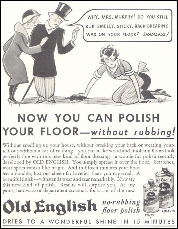 OLD ENGLISH FLOOR WAX GOOD HOUSEKEEPING 11/01/1933 p. 206