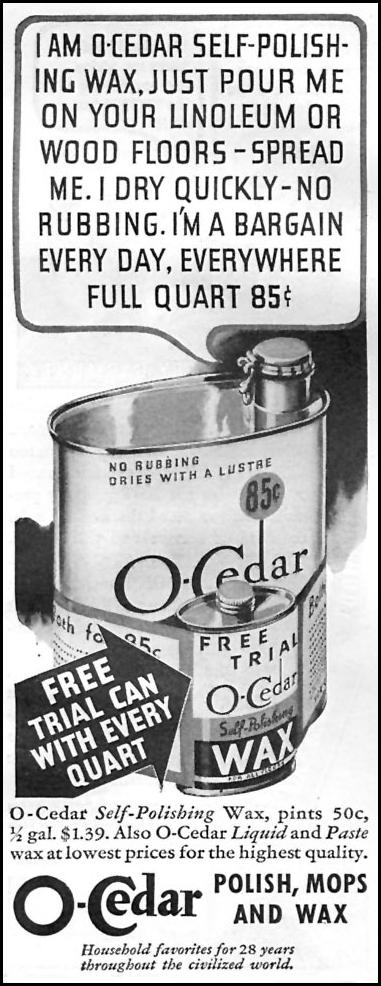 O-CEDAR SELF-POLISHING WAX