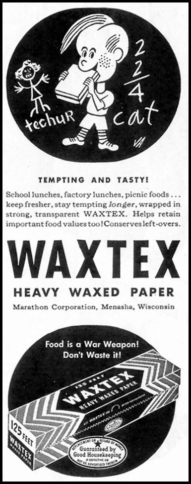 WAXTEX HEAVY WAXED PAPER SATURDAY EVENING POST 05/19/1945 p. 79