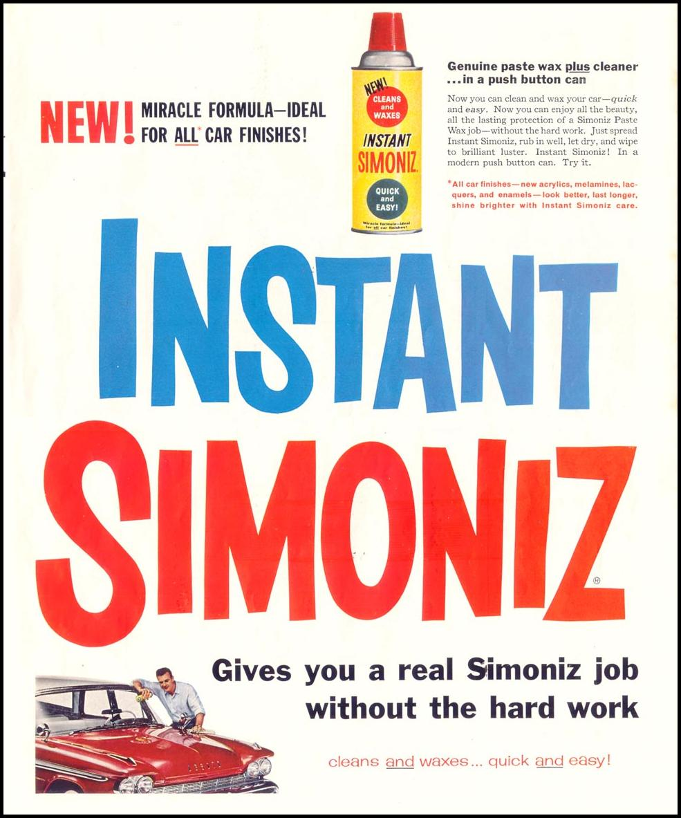 INSTANT SIMONIZ CAR WAX SATURDAY EVENING POST 08/15/1959 p. 65