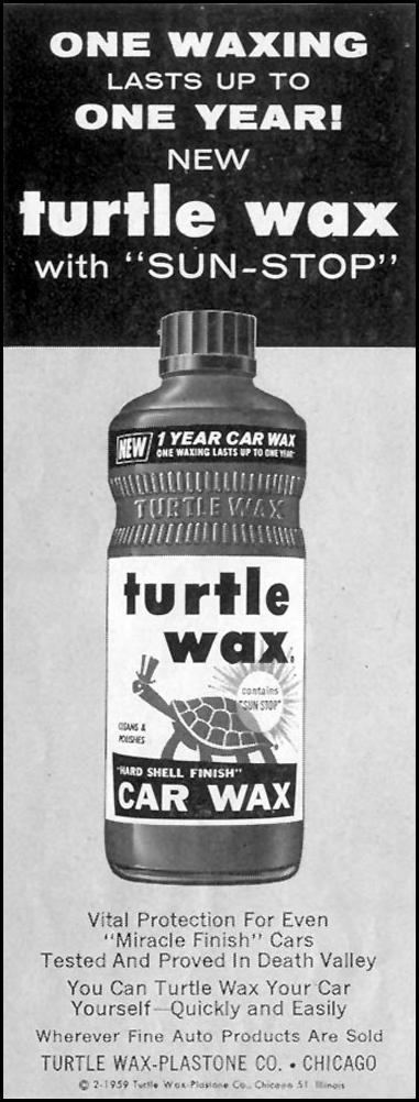 TURTLE WAX CAR WAX SATURDAY EVENING POST 08/15/1959 p. 76