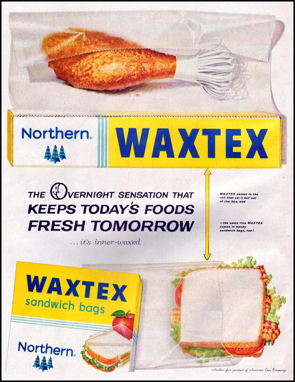 WAXTEX PLASTIC SANDWICH BAGS LIFE 10/05/1959