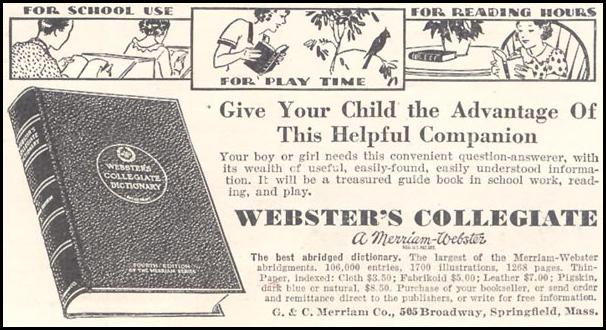 WEBSTER'S COLLEGIATE DICTIONARY GOOD HOUSEKEEPING 03/01/1935 p. 201