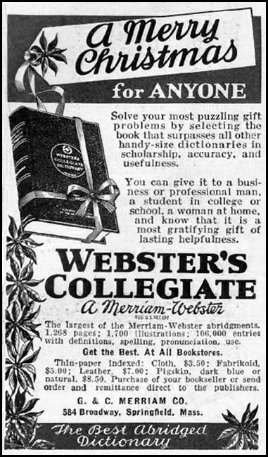 WEBSTER'S COLLEGIATE DICTIONARY GOOD HOUSEKEEPING 12/01/1935 p. 187