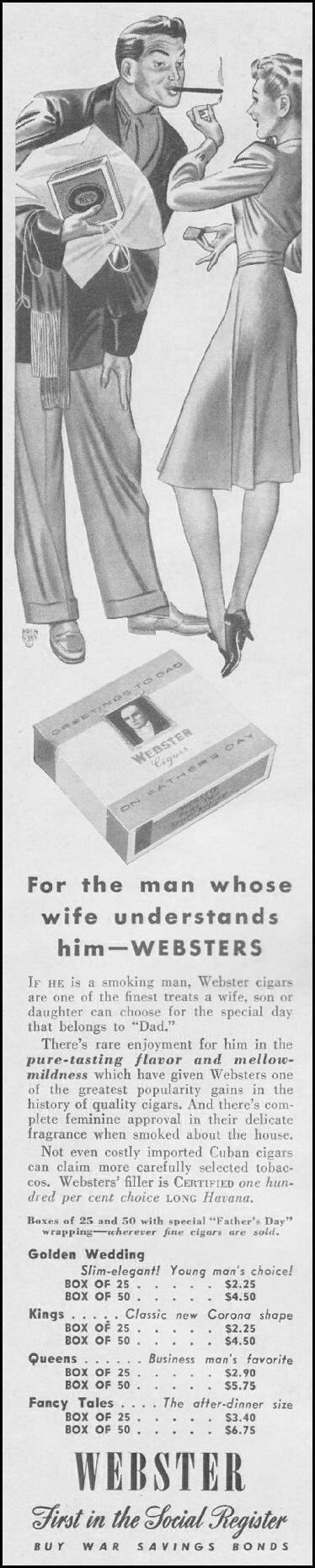 WEBSTER CIGARS LIFE 06/22/1942 p. 90
