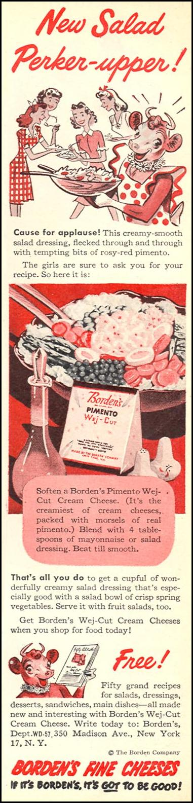 BORDEN'S PIMENTO WEJ-CUT CREAM CHEESE WOMAN'S DAY 05/01/1947 p. 15