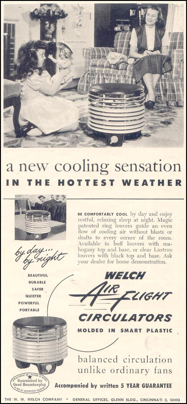 WELCH AIR FLIGHT CIRCULATORS GOOD HOUSEKEEPING 07/01/1949 p. 158