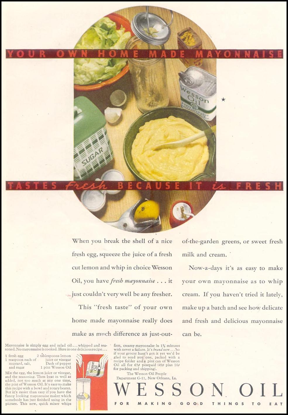 WESSON OIL GOOD HOUSEKEEPING 11/01/1933