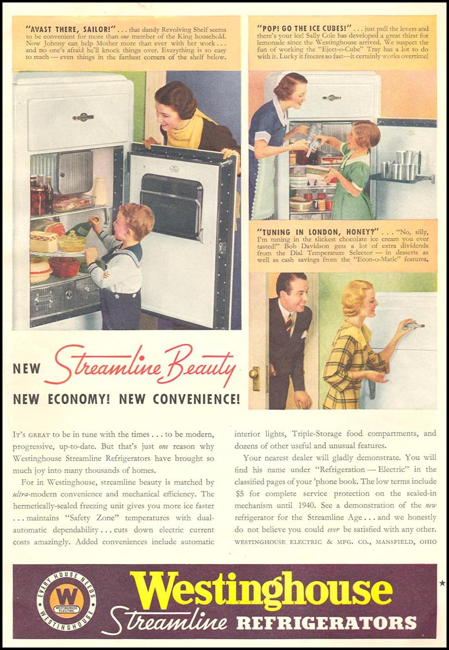 WESTINGHOUSE STREAMLINE REFRIGERATORS GOOD HOUSEKEEPING 06/01/1935 p. 193