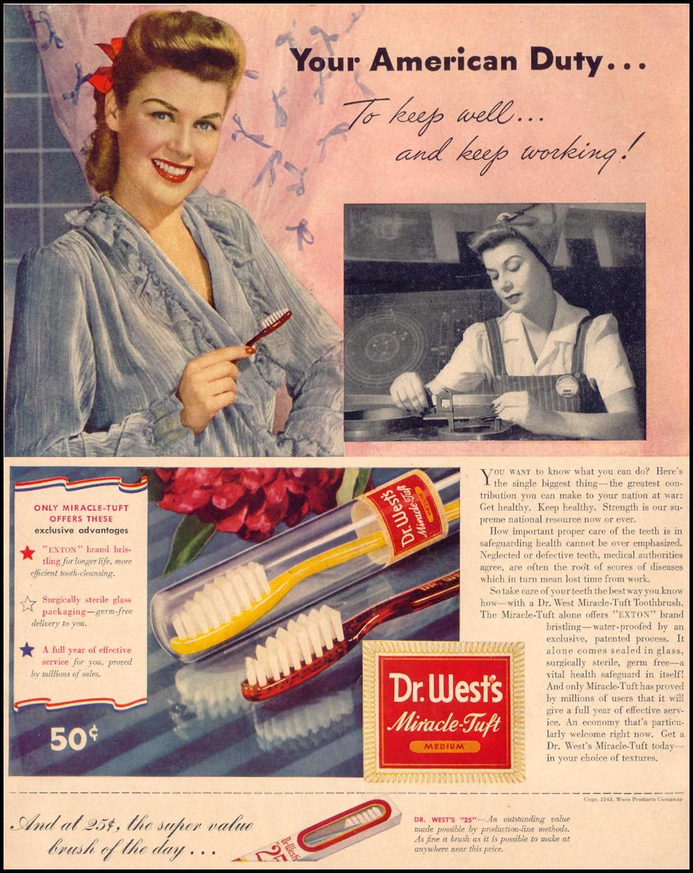 DR. WEST'S MIRACLE-TUFT TOOTHBRUSH LIFE 05/24/1943