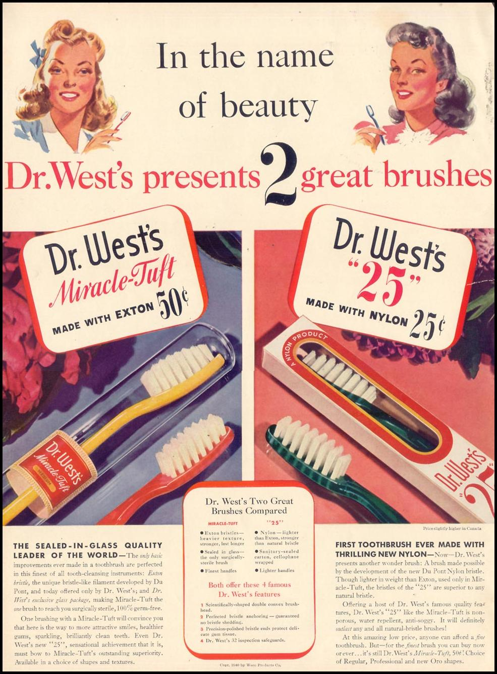 DR. WEST'S MIRACLE-TUFT TOOTHBRUSH LIFE 09/30/1940