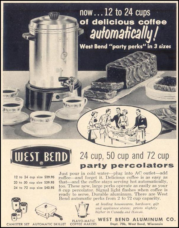 WEST BEND AUTOMATIC COFFEE MAKER LIFE 11/11/1957 p. 130