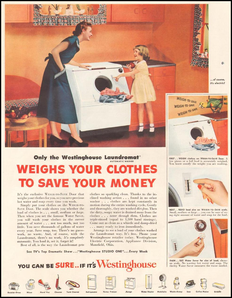WESTINGHOUSE LAUNDROMAT WASHING MACHINE LADIES' HOME JOURNAL 11/01/1950 p. 4