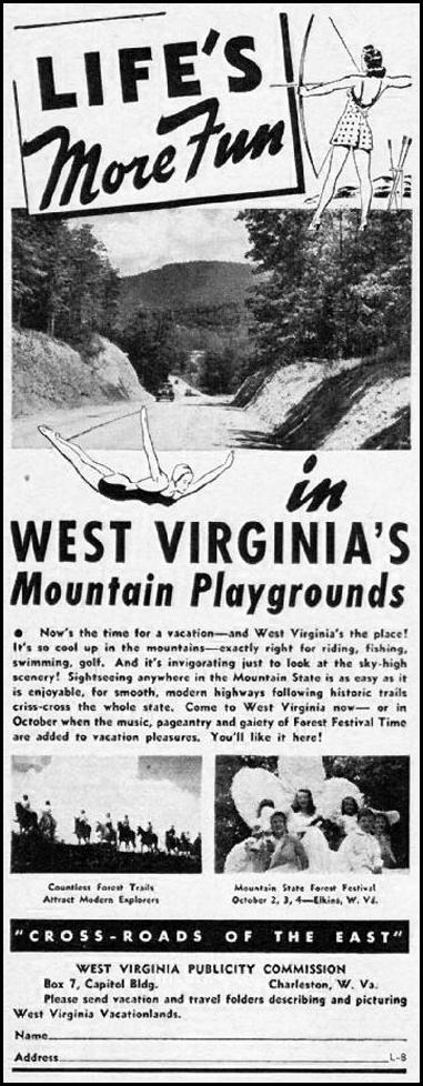 WEST VIRGINIA VACATIONS LIFE 08/04/1941 p. 85