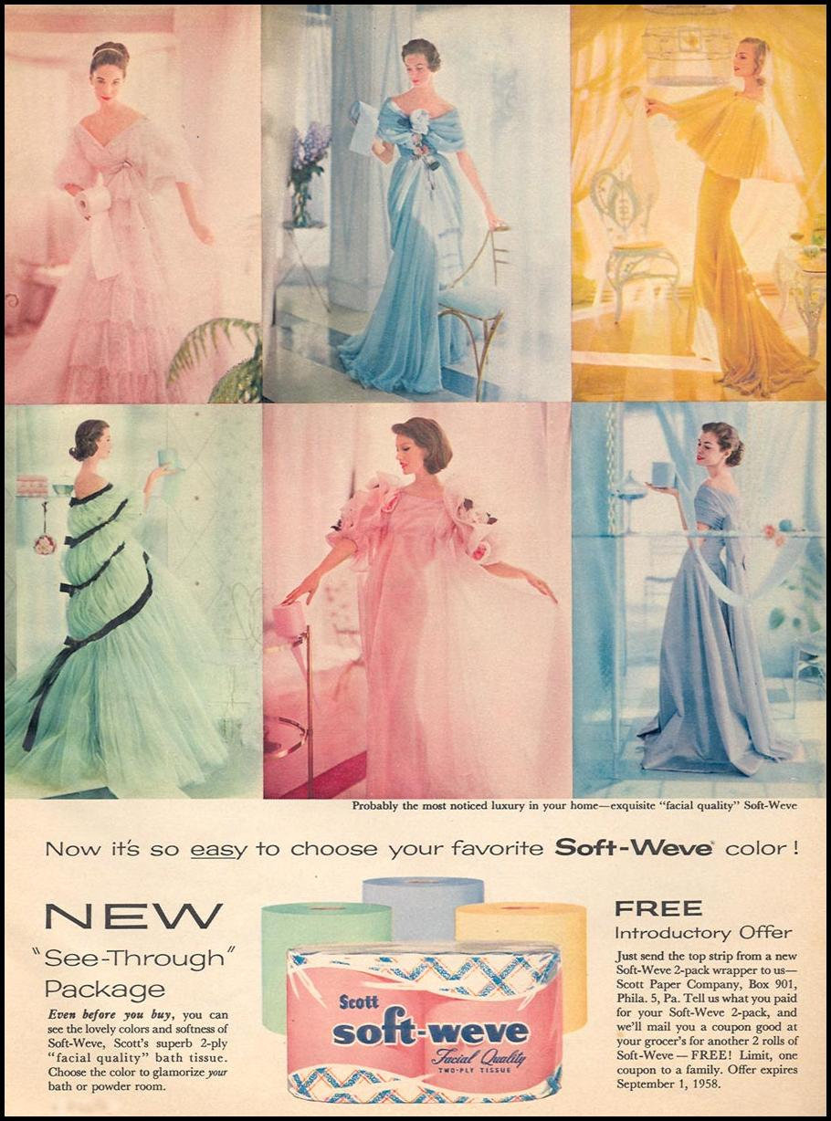 SOFT-WEVE BATHROOM TISSUE WOMAN'S DAY 06/01/1958 p. 77
