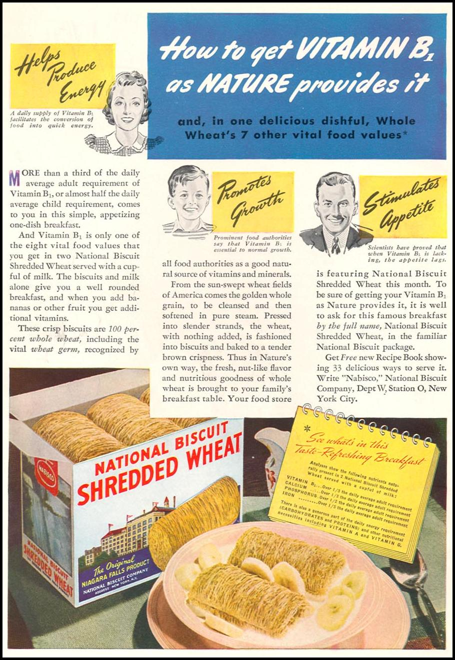 NATIONAL BISCUIT SHREDDED WHEAT WOMAN'S DAY 04/01/1941 INSIDE FRONT
