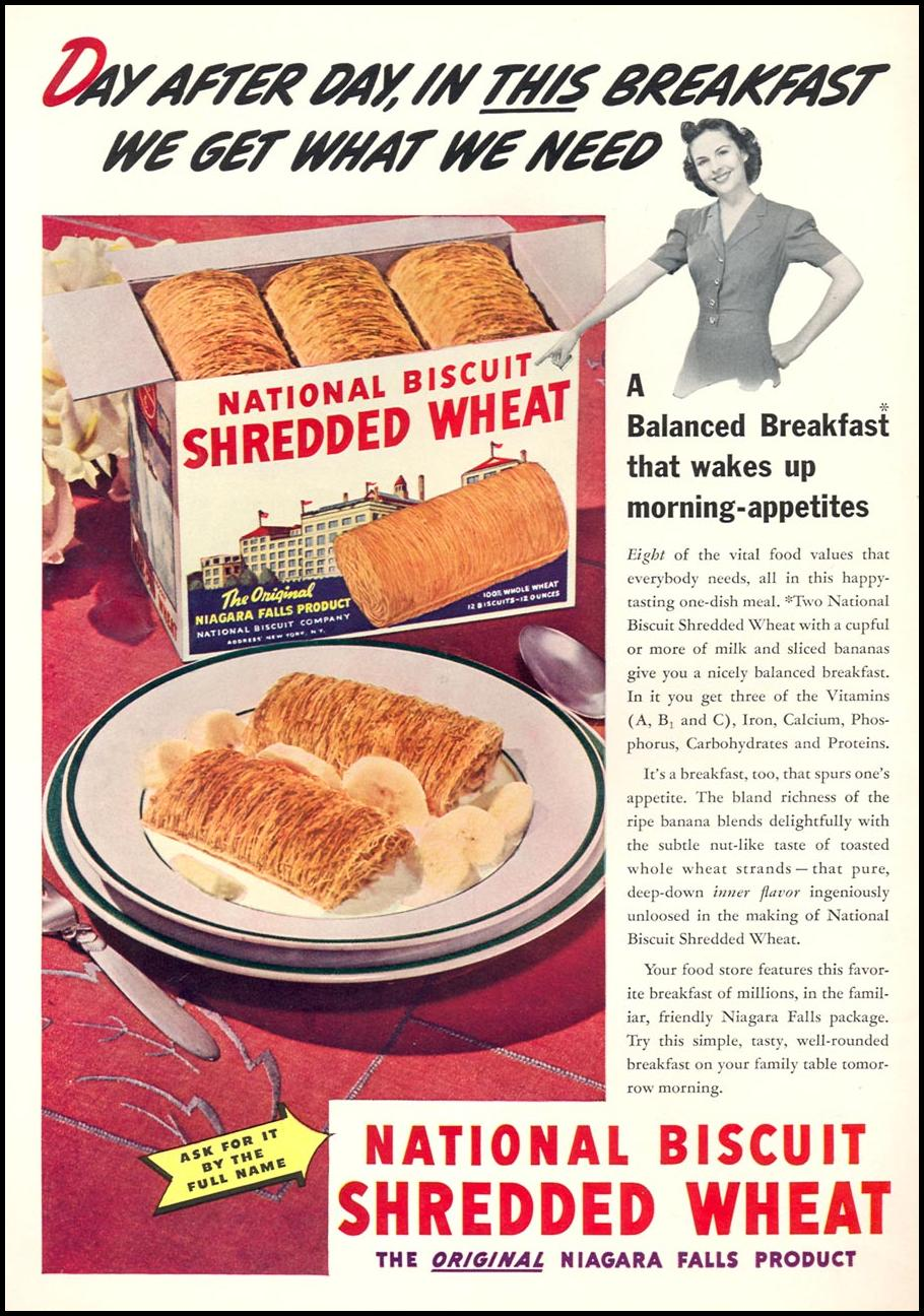 NATIONAL BISCUIT SHREDDED WHEAT WOMAN'S DAY 08/01/1940 INSIDE FRONT