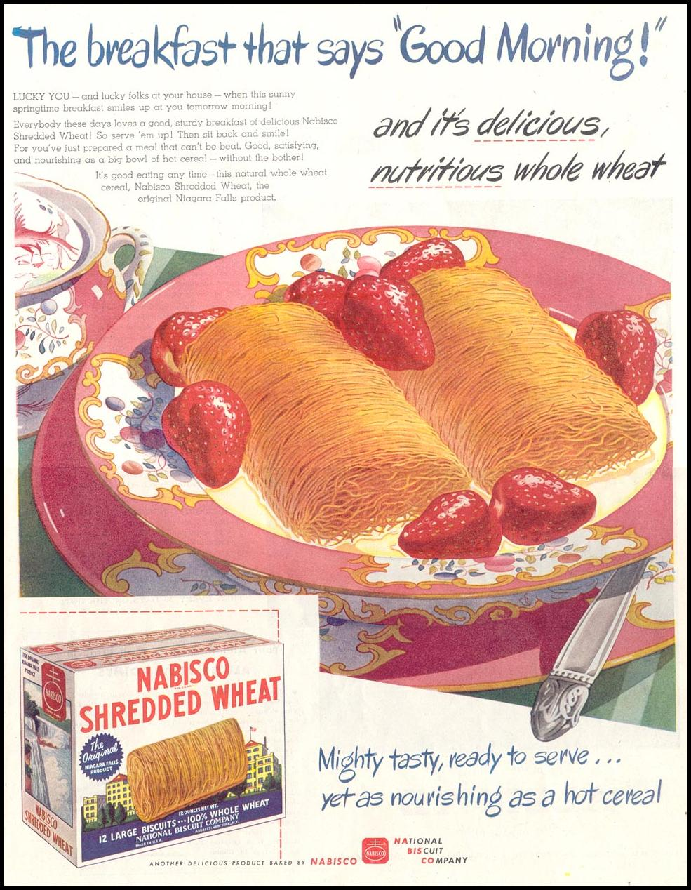 NABISCO SHREDDED WHEAT SATURDAY EVENING POST 05/19/1945