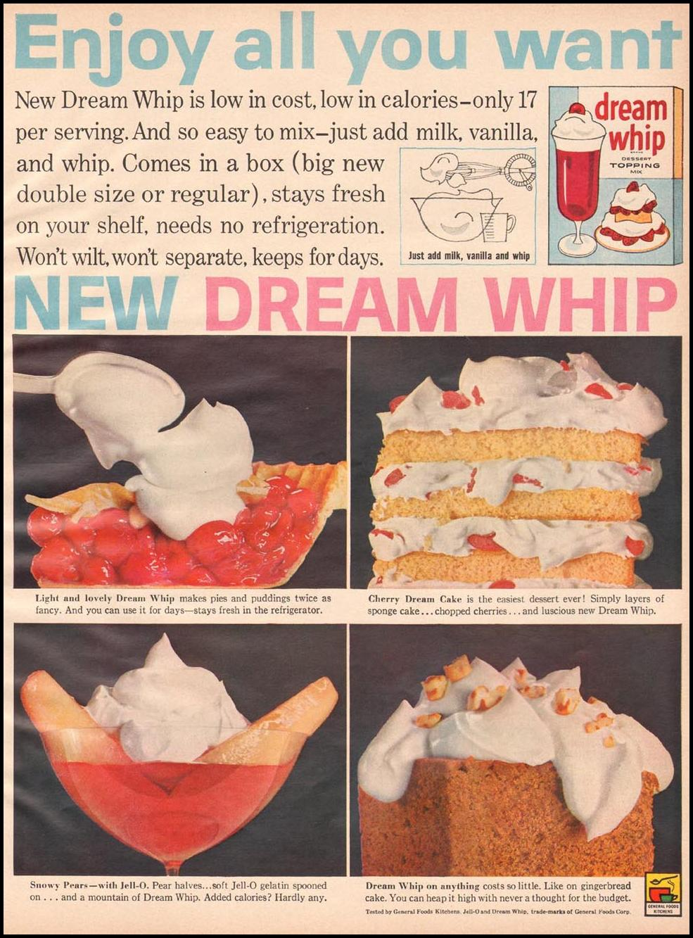 DREAM WHIP WHIPPED TOPPING BETTER HOMES AND GARDENS 03/01/1960 p. 125