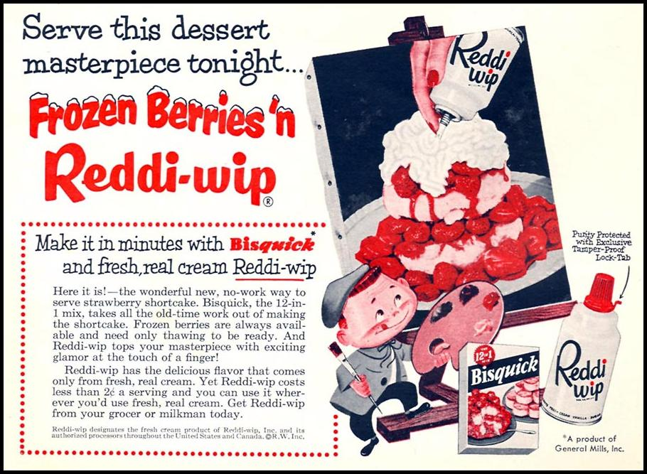 REDDI-WIP WHIPPED CREAM WOMAN'S DAY 02/01/1954 p. 157