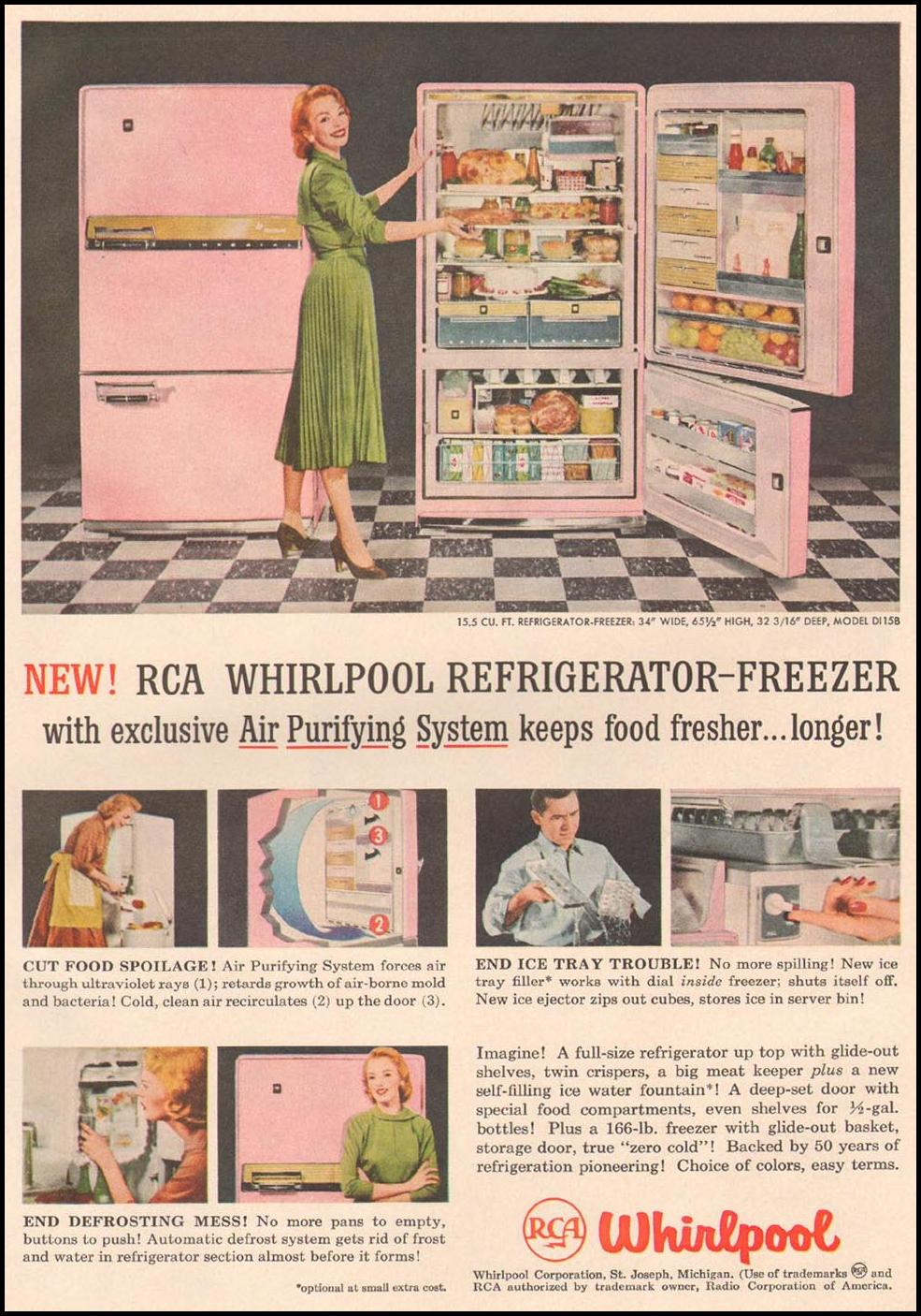 RCA WHIRLPOOL REFRIGERATOR-FREEZER GOOD HOUSEKEEPING 05/01/1957 p. 171